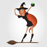 Red hair witch, holding cauldron with potion. Stock Images