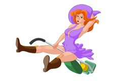 Red hair witch in violet dress on a green vacuum cleaner.  Stock Photo