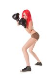 Red hair woman is boxing over white Stock Photos