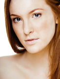 Red hair woman with drops on her face, real ginger. Close up Royalty Free Stock Photos