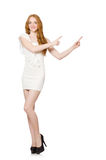 The red hair woman in elegant dress isolated on white Stock Photo