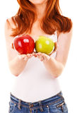 Red hair woman with green apple on white Stock Image