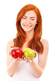 Red hair woman with green apple on white Royalty Free Stock Photo