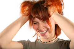 Red hair woman with hands in hair Stock Image