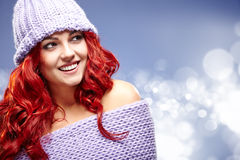 Red hair woman in warm clothing Stock Photography