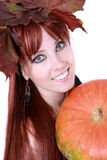 Red Hair Woman With Pumpkin Stock Photos