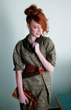 Red hair young woman fashion model smiling Royalty Free Stock Photos
