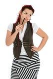 Red-haired девушка изолированная на белой предпосылке стоковые фотографии rf