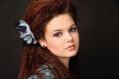 Red-haired девушка с калиброванными волосами стоковое изображение rf