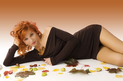 Red haired autumn woman Stock Photo