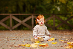 Red-haired baby girl on the background of nature and sitting in. The fall leaves Stock Photos