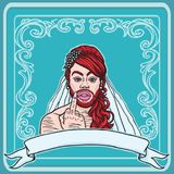 Red haired and bearded cross-dresser gay transvestite showing middle finger with ring. Wearing bridal wedding dress. Including text ribbon, blue background Stock Photo
