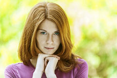 Red-haired beautiful young woman Stock Photography