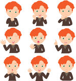 Red-haired boy doubts, rejoices, angry and gives advice Royalty Free Stock Photos