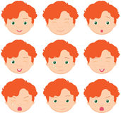 Red-haired boy emotions: joy, surprise, fear, sadness, sorrow, c Royalty Free Stock Images