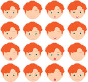 Red-haired boy emotions: joy, surprise, fear, sadness, sorrow, c Stock Photos