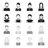 Red-haired boy, teen girl, grandmother wearing glasses.Avatar set collection icons in black,monochrome style vector. Symbol stock illustration Royalty Free Stock Images