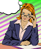 Red-haired businesswoman with glasses in a blue jacket vector illustration