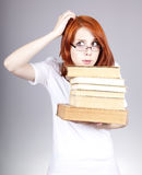 Red-haired Businesswoman Keep Books Stock Images