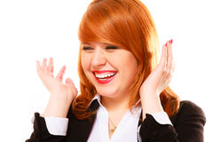 Red haired businesswoman portrait isolated on white. Royalty Free Stock Photo