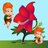 Red-haired cartoon boy and red flower closeup Stock Image