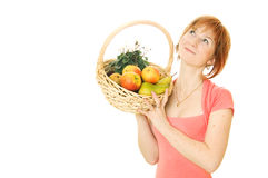Red-haired caucasian woman with fruits Stock Photo
