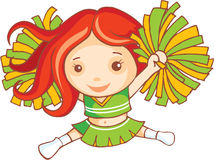 Red haired cheer leader. Is dancing Royalty Free Stock Images