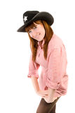 Red haired cowgirl in black hat Royalty Free Stock Images