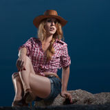 Red haired cowgirl Royalty Free Stock Photos