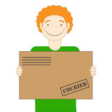 The red-haired cute courier is holding a parcel in his hands. Delivery. Illustration Royalty Free Stock Photos