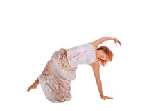 Red haired dancer on white Stock Image