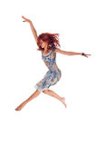 Red haired dancer on white Royalty Free Stock Photos