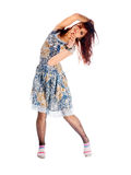 Red-haired dancer on white background Stock Photos