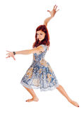 Red-haired dancer on white background Royalty Free Stock Images