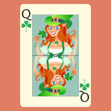 Red-haired elphicke playing card Queen St. Patrick. S day fun green Shamrock royalty free illustration