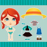 Red Haired Fashion Girl. Sweet and cute red haired fashion girl clothes collection set Stock Photos