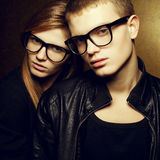 Red-haired fashion twins in trendy eyewear Royalty Free Stock Photo