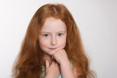Red haired fashionista six years Royalty Free Stock Images