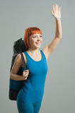 Red-haired fitness girl with yoga Royalty Free Stock Images
