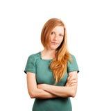 Red-haired Frauenlächeln lizenzfreie stockfotos