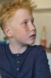 Red haired freckled boy. Portrait of a nine year old freckled boy Stock Photography