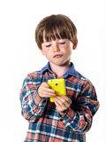 Red-haired funny boy with mobile phone Royalty Free Stock Photos