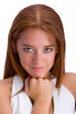 Red-haired girl. In white backgorund royalty free stock photo