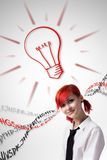 Red-haired girl analyzes information stock image