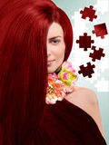 Red-haired girl on the background of the puzzles Stock Photos