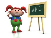 Red haired girl with blackboard. 3d rendering/illustration of a cute cartoon girl with red pigtails in front of a blackboard raising her hand Stock Images