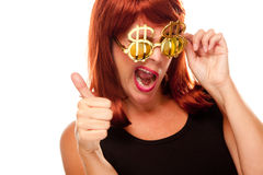 Red Haired Girl with Bling-Bling Dollar Glasses. Isolated on a White Background royalty free stock image