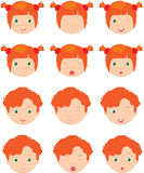 Red-haired girl and boy emotions: joy, surprise, fear, sadness, Stock Image