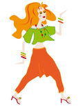 Red-haired girl in a bright dress. Redhead hippie smiles and dances Stock Image