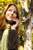 Red-haired girl calling by the phone Royalty Free Stock Images